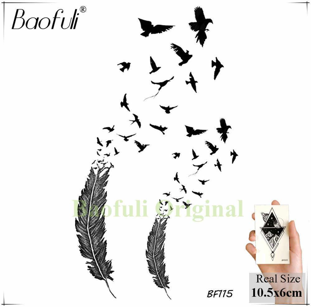 Baofuli Chim Ruồi Hình Xăm Tạm Thời Chim Dành Cho Nữ Màu Nước Giả Miếng Dán Hình Xăm Nghệ Thuật Thân Thể Cánh Tay Chống Nước Tatoo Tờ