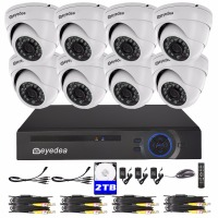 Eyedea 8 CH HDMI DVR 1080P Video Surveillance Phone View Recorder Metal Dome Night Vision Home