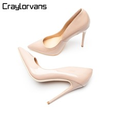 Craylorvans Brand Shoes Woman High Heels Pumps Nude 12CM Women Wedding Black