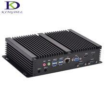 Дешевый Core i3 4010U Haswell безвентиляторный мини промышленного ПК Windows 10 Barebone компьютер HD 4400 Graphics 4 К HTPC WiFi HDMI VGA