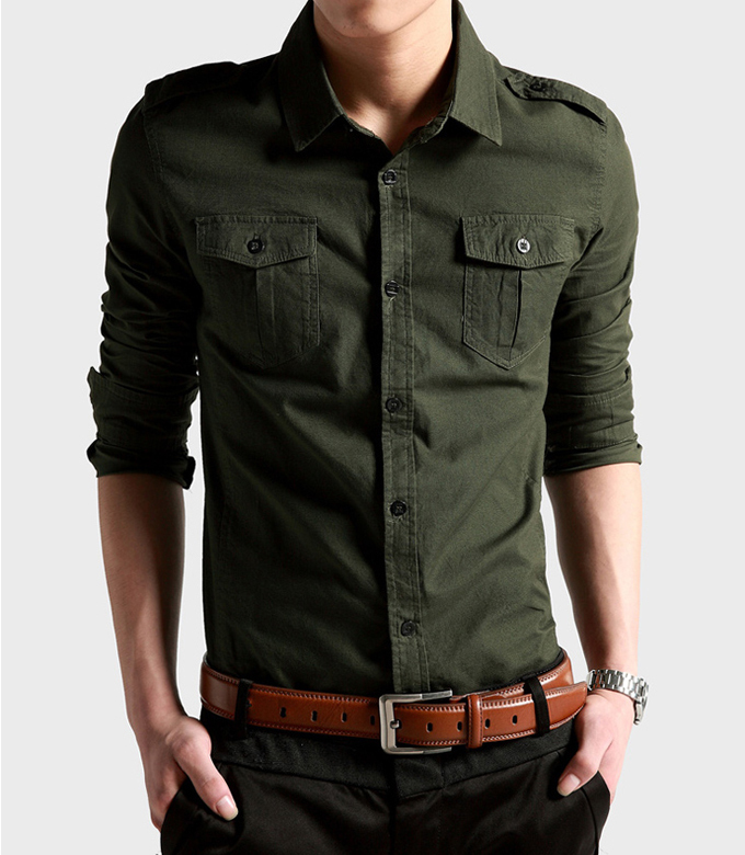 fad75a472b24 6172 New Mens Outdoor military double pocket Long sleeve Designer Fashion  100%Cotton Luxury Stylish Casual Dress Slim Shirts-in Dress Shirts from  Men's ...