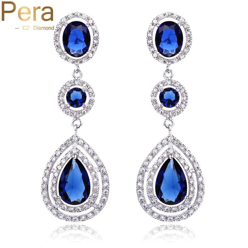d2f716618 Detail Feedback Questions about Pera CZ Luxury Royal Bridal Jewelry Long  Halo Tear Drop Dark Blue Big Cubic Zirconia Stone Wedding Earrings For  Women E041 ...