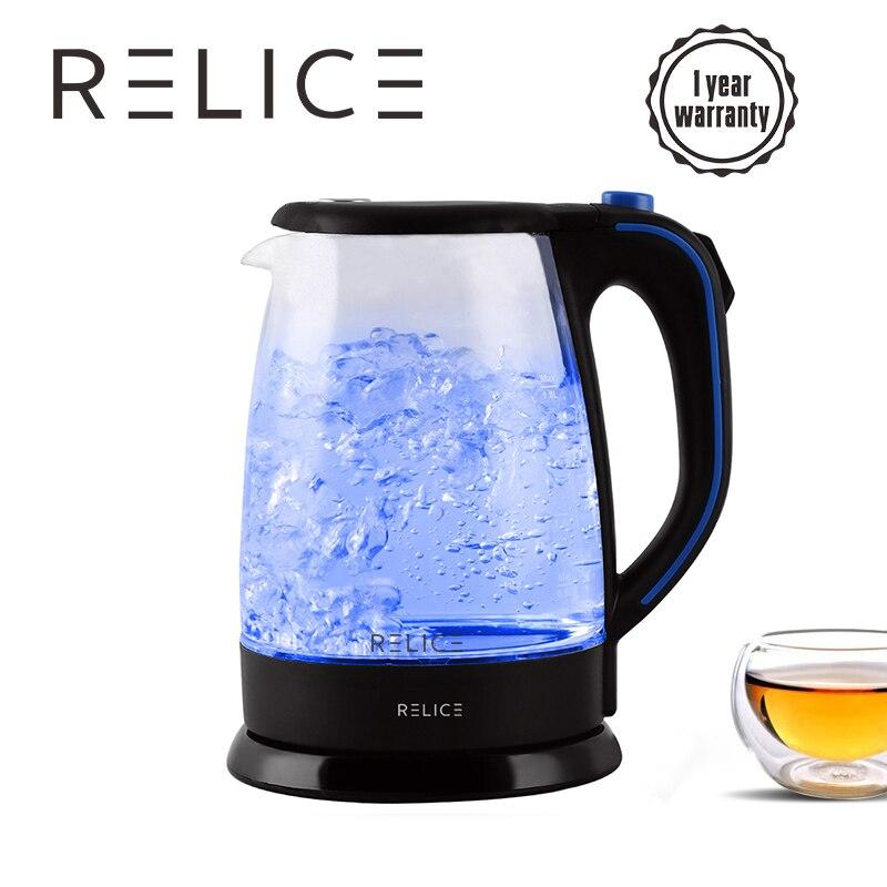RELICE Elektrische Wasserkocher 1.8L 220 v Sicherheit Auto-Off Funktion Haushalt Wasser Kochendem Wasserkocher Heizung Teekanne 1600 watt Thermo glas Topf