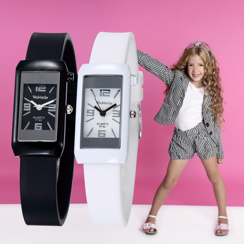 Lovely Kids Watch Silicone Band Children Watches Square Dial Quartz Wristwatch Baby Girl Sport Clock Dropsshiping Enfant Relogio