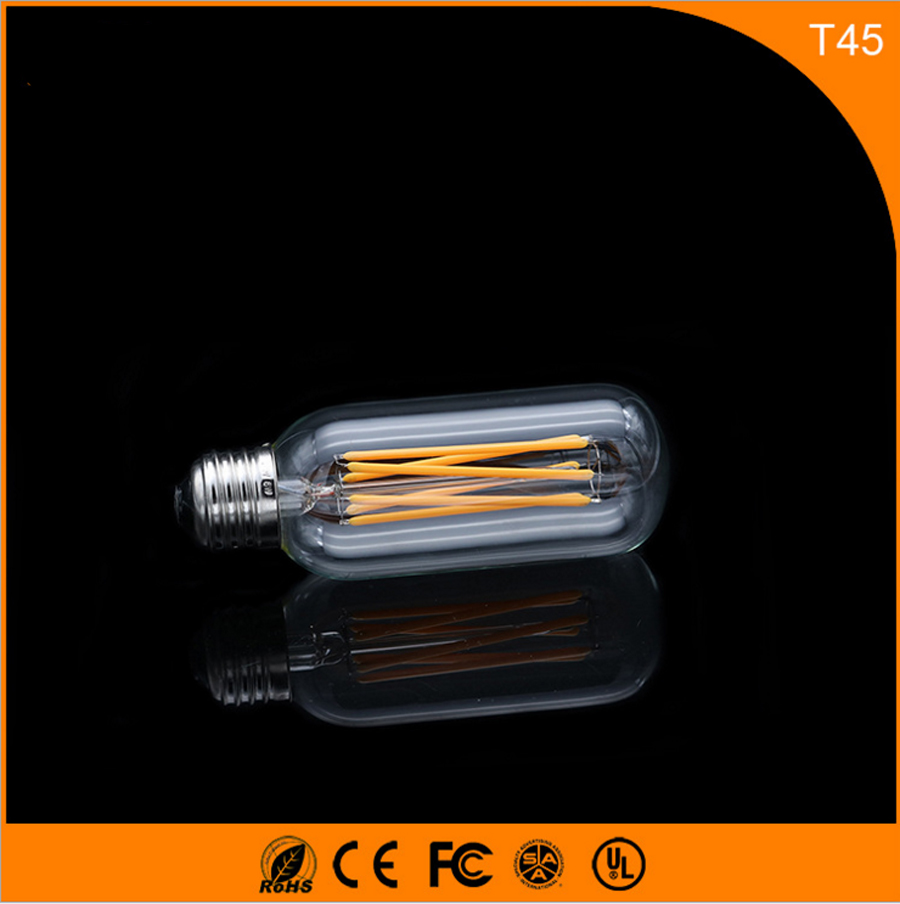 50PCS 6W E27 B22 Led Bulb, T45 LED COB Vintage Edison Light ,Filament Light Retro Bulb AC 220V 50pcs 2w e27 b22 led bulb t38 led cob vintage edison light filament light retro bulb ac 220v