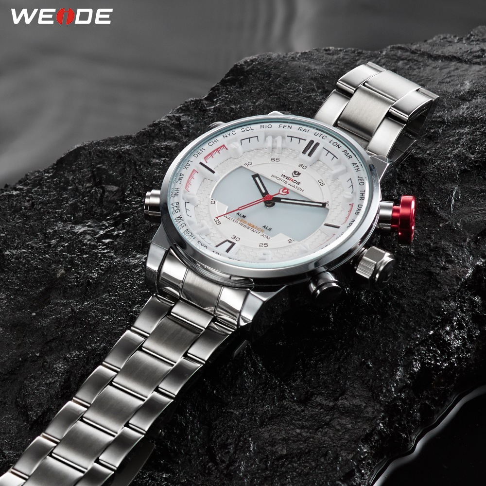 WEIDE Mens Sports Fashion Casual LED Display Quartz Movement Stainless Steel Strap Clock Military Wristwatch Relogio MasculinoWEIDE Mens Sports Fashion Casual LED Display Quartz Movement Stainless Steel Strap Clock Military Wristwatch Relogio Masculino
