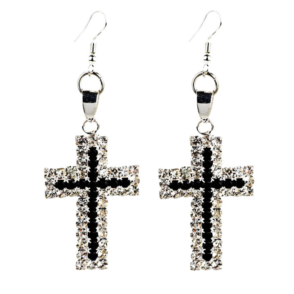 New Elegant Rhinestone Cross Dangle Earrings Women Fashion Jewelry Silver  Plated Wedding Party Accessiores(china