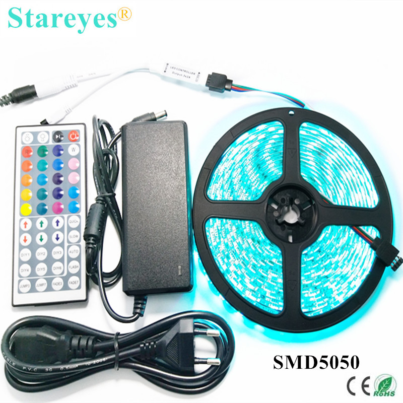 1 set SMD 5050 60 LED / M 5 M RGB LED Strip tape string verlichting Zaklamp IP65 Waterdichte strip + 44 key Remote + 5A Power Adapter