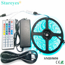 1 set SMD 5050 60 LED / M 5M RGB LED Strip tape string lighting Flashlight IP65 Waterproof strip+44 key Remote+5A Power Adapter