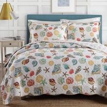 Chausub Ocean стиль, качество Стёганое одеяло комплект 3 шт. хлопок Одеяла Стёганое одеяло ED Постельные покрывала покрывало Простыни Детские наволочка Одеяло покрывало король размеры