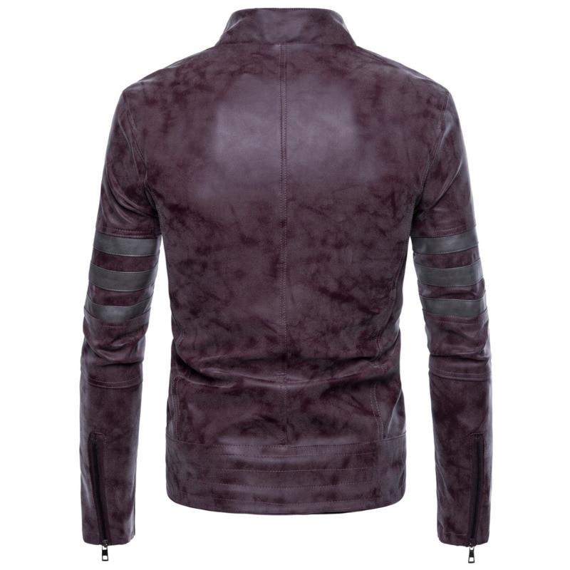 Degli uomini della Chiusura Lampo Irregolare Glassato PU uomo mens del progettista cappotti di Pelle da uomo fashion giacche - 5