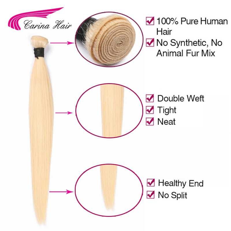 Carina cabello brasileño Remy paquetes de cabello 1 piezas 8-28 pulgadas 100% extensiones de cabello humano puro 613 pelo lacio tramas envío gratis