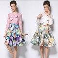 Бабочка цветочный принт конькобежец юбка женская юбка в складку бальное платье миди эластичный высокая талия старинные Saias женщины юбка