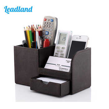 Multi-Functional Desk Stationery Box Desk Organizer Storage Box Wooden PU leather Pen Holder Pencil Accessories Case - DISCOUNT ITEM  0% OFF All Category