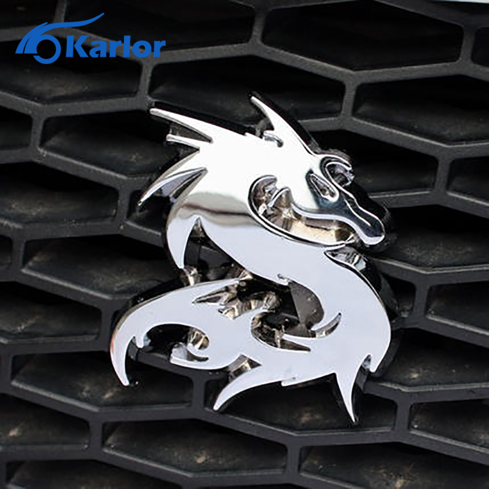 Dragon loong 100 3d metal car auto grille badge logo totem grill emblem sticker silver gold black diy new 3 color car styling in car stickers from