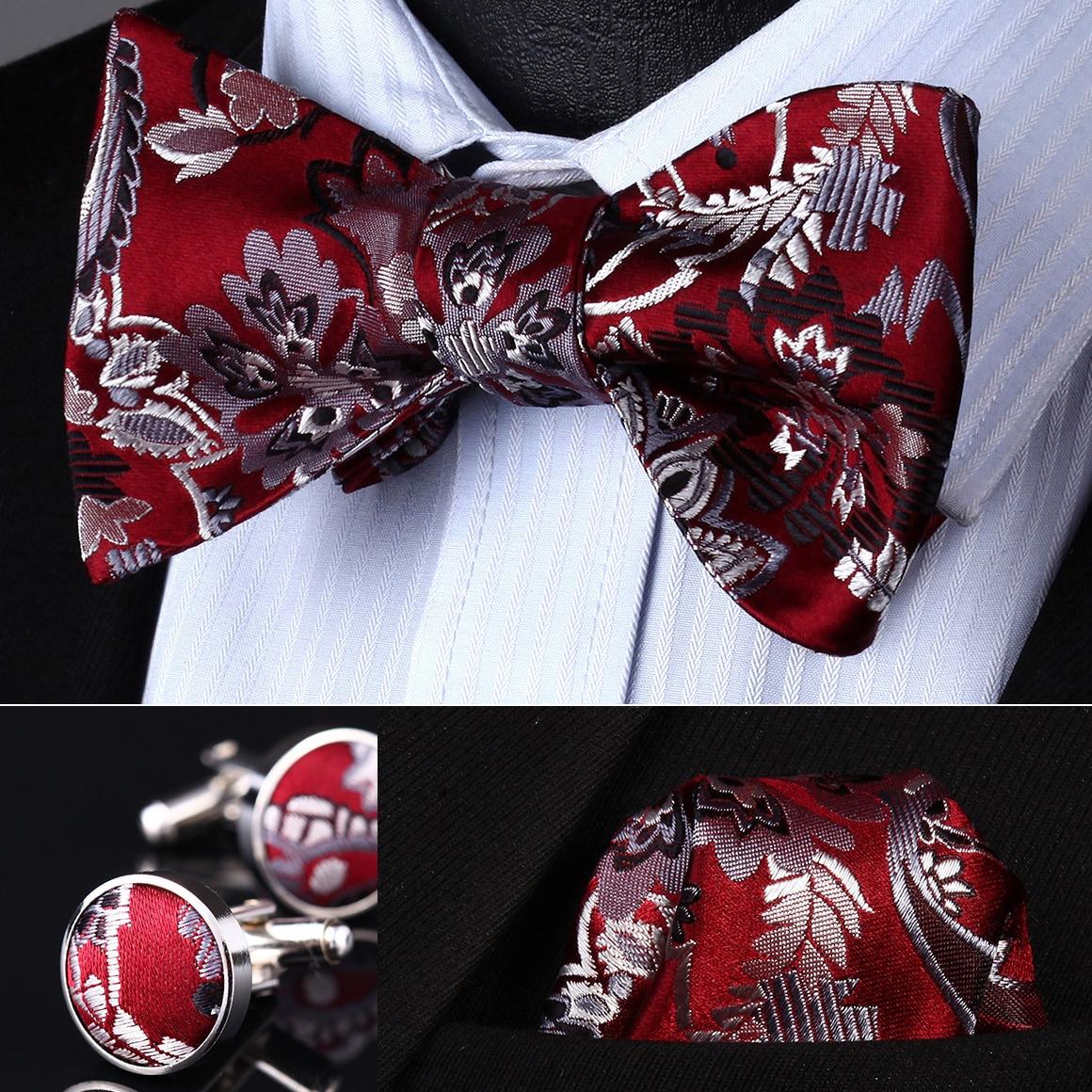 BZP10R Red Gray Paisley Men Silk Self Bow Tie handkerchief Cufflinks set
