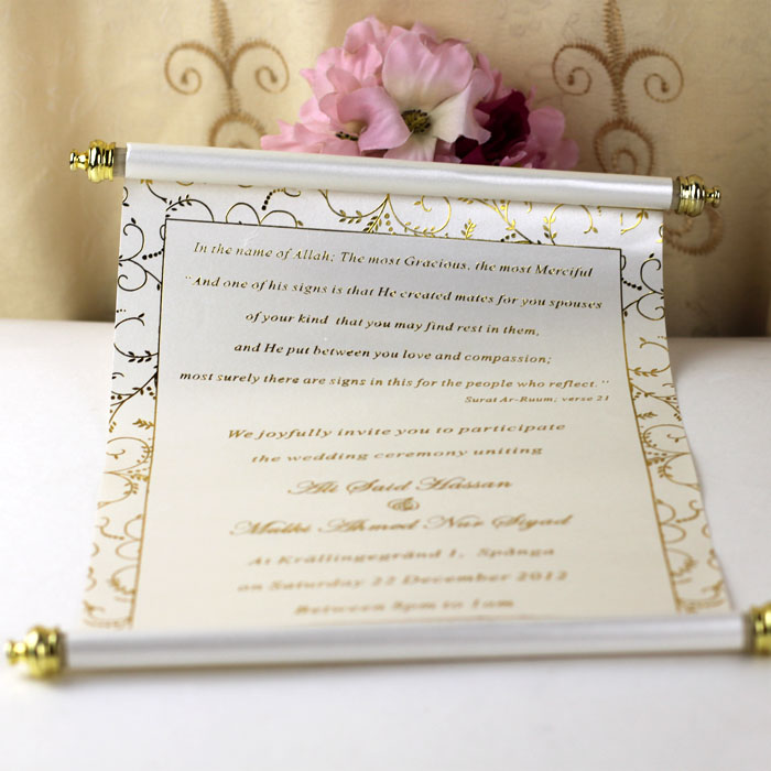 100PCS Personalized Wedding Invitation Card With Box,Scroll Birthday Party Invitation Card With Printing,