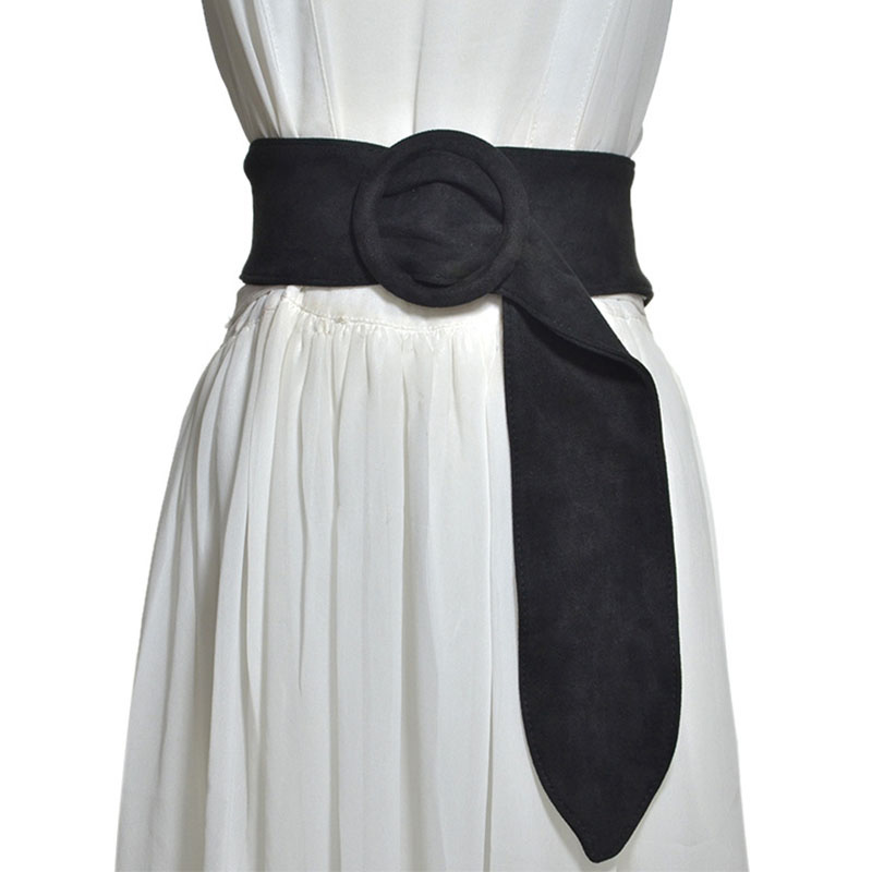 [AETRENDS] Wide Cummerbunds Suede Felt Round Buckle Cinch Belt Women Belts Formal Wedding Party Clothing Accessories D-0045