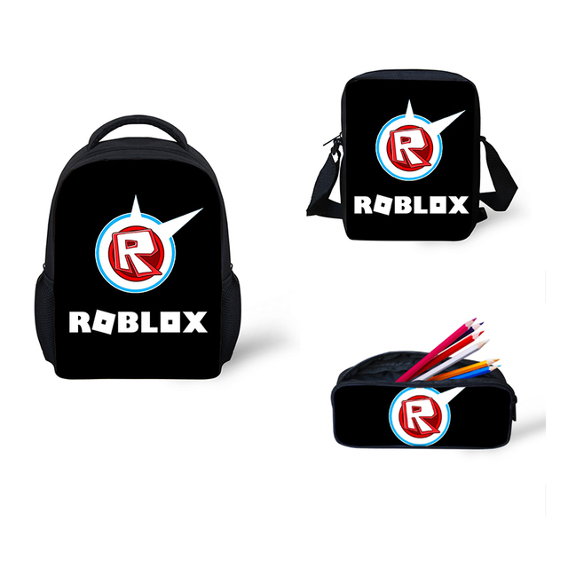 Cute Roblox toys figure School Bags 3 pcs Set Cartoon School Backpack for Girls  Boys Kids Bags rugzak mini backpack female 737f9505881ef