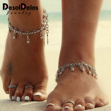 Bohemia Anklets Hollow Carved Clover Anklet Water Drop Tassel Bell Ankle Bracelet Plated Silver Anklets for Women Indian Anklet