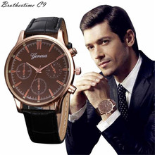 Newly Design Woman Mens Retro Brown Dial Round Case Faux Leather Geneva Analog Alloy Quartz Wrist Watch