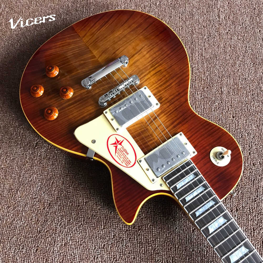 hot selling musical instruments oem tiger flame electric guitar luxury finished way with chrome. Black Bedroom Furniture Sets. Home Design Ideas