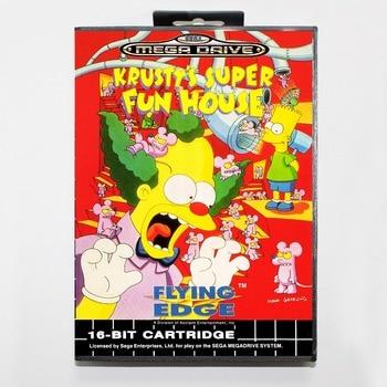 16 бит Sega MD игра картридж с розничной коробке-Красти супер Fun House игры корзину для megadrive для бытие системы