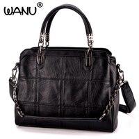 2017 European And American Lady Bag Leather Handbag Sheepskin Shoulder Laptop Bag Big Bags Classic Black