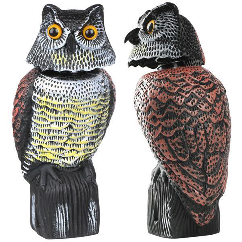 2pcs Owl Decoy w/ Rotating Head – Garden Owl Animal Repellent Deters Birds Pests Squirrels Pest Control Products Garden Supplies