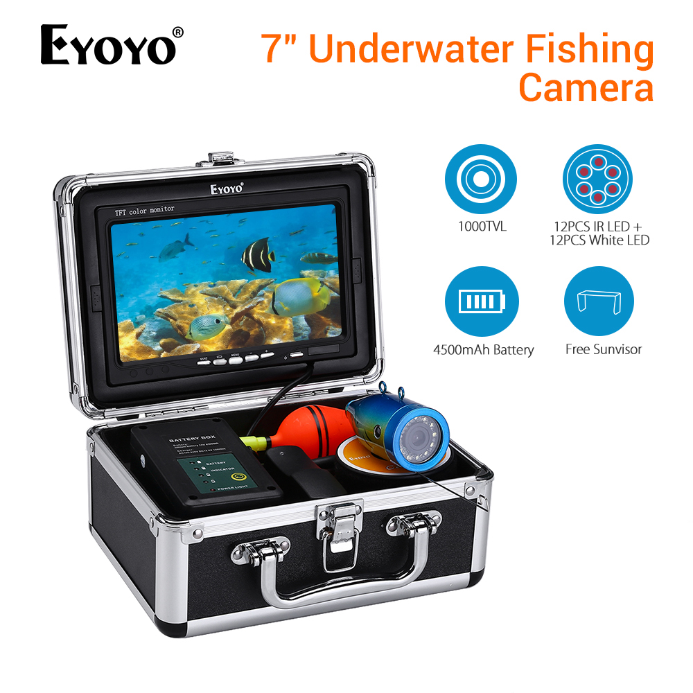 EYOYO 30M Fish Finder Underwater Fishing Camera Battery Control Box Infrared and White LED Video Recording
