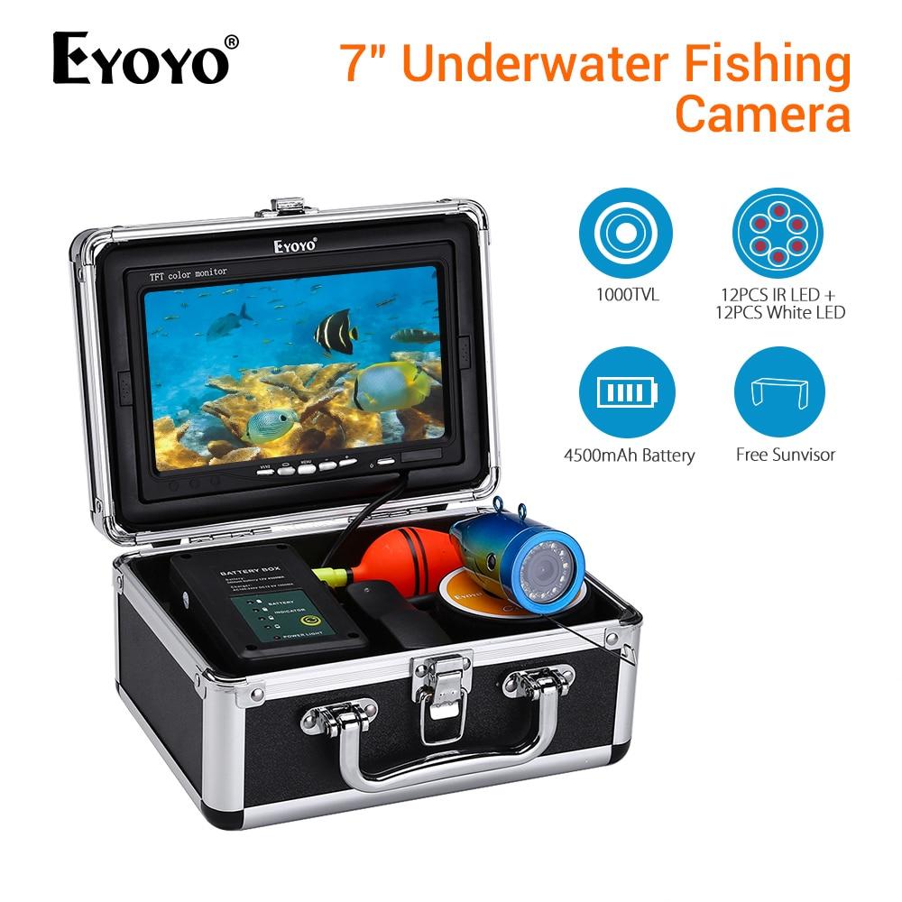 EYOYO 30M Fish Finder Underwater Fishing Camera Battery Control Box Infrared and White LED Video Recording DVR 8GB Эхолот для рыбалки
