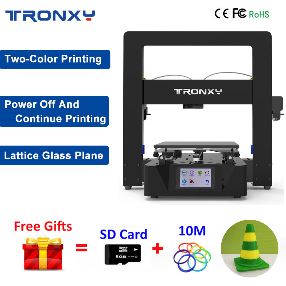 2018 New Tronxy 3D Printer Kit I3 Large Print Size 220*220*210 Dual Color Printer 3D Power Off Continuation Print +Touch Screen 3d printer 2 8 touch screen motherboard kit esp8266 wifi dual nozzle control module power continued print motherboard