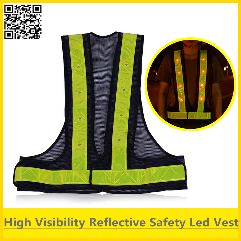 цены SFvest Led Safety reflective vest yellow orange black vest trafffic vest security safety reflective vest led free shipping