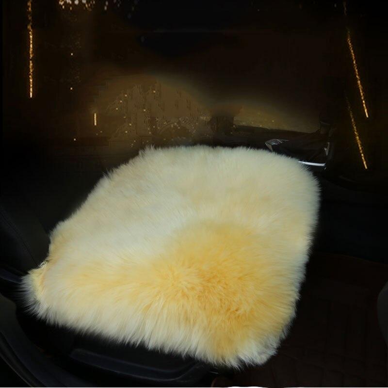 O SHI CAR Genuine Sheepskin Chair Seat Pad Car Seat Cover Cushion with Straps 18x18