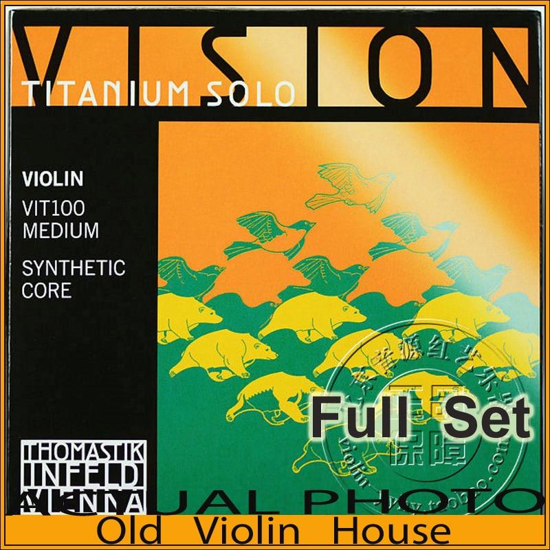 Original Thomastik Vision Titanium Solo(VIT100) Violin Strings Full Set Medium with Ball-End, full set,made in Austria fender strings new super 250lr nps ball end 9 46