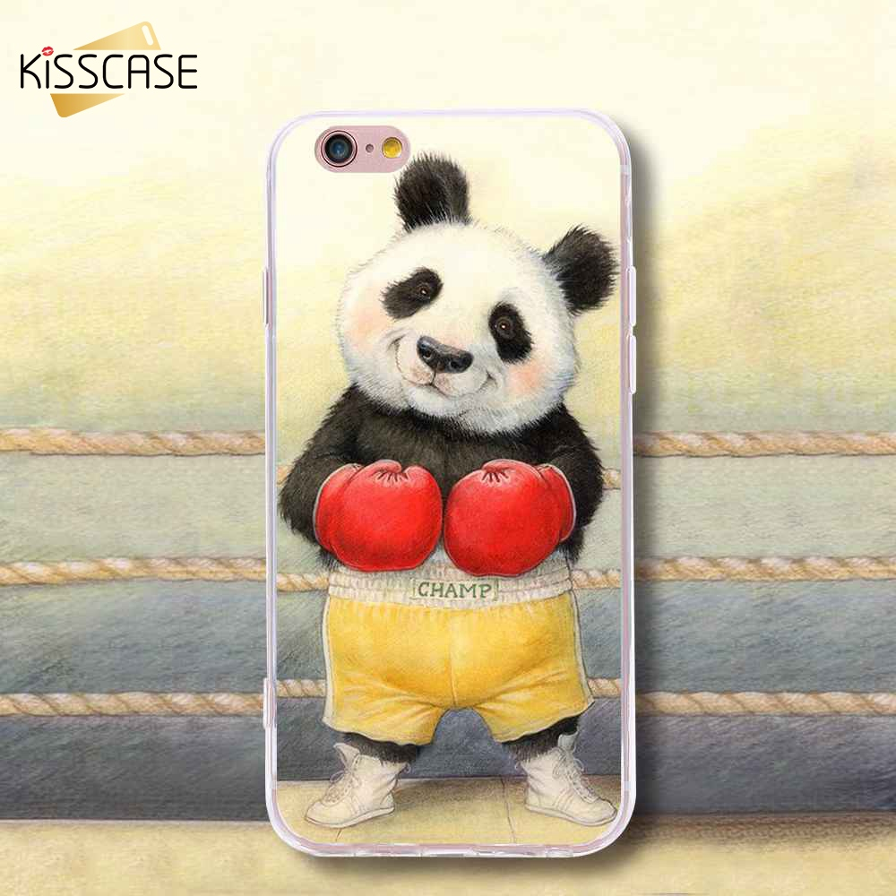 For iPhone 7 6 6s Plus 5s SE Case Panda Boxer Cute Cover For Samsung S6 S7 Edge Plus Note7 S5 Rubber TPU 3D Print Picture Fundas
