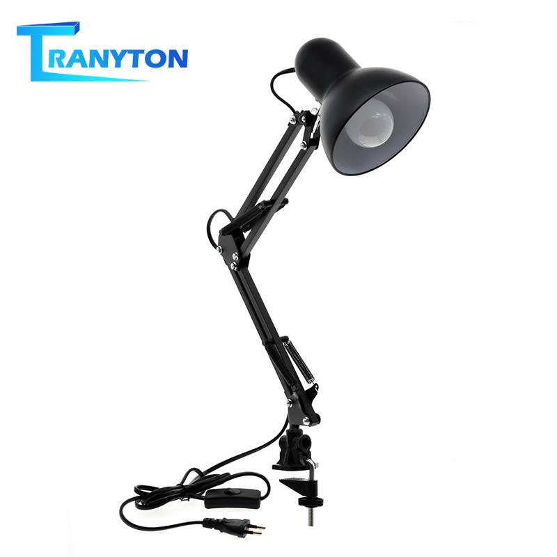 Simple Adjustable Desk Lamp E27 Bulb Flexible Foldable LED Table Lamp Swing Arm Clamp Mount Light for Office Decoration Lights