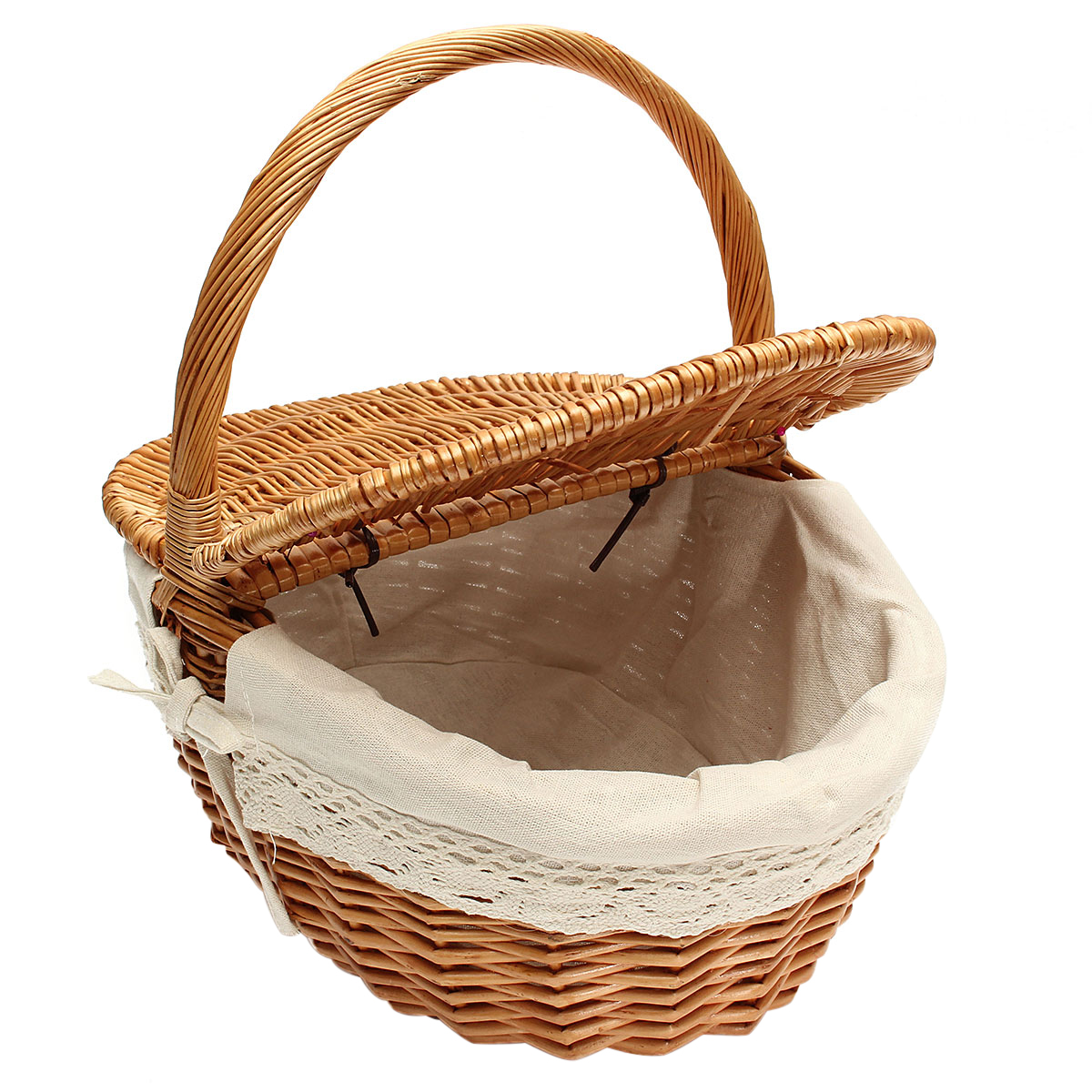 Picnic Basket Hamper White-Liner Carrying-Food Outdoor Wicker Willow With Lid And Handle