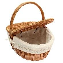 Плетеная ивовая Корзина для пикника, корзина для покупок с крышкой и ручкой и белым вкладышем для кемпинга, пикника, переноски еды