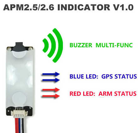 apm 2 8 apm2 6 / 2 5 / mwc flight controller sound and light indicator