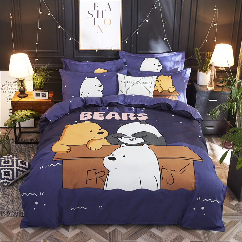 4 Pcs  Brief Style Bed Set Duvet Cover Bed Sheet Pillowcase Cartoon Bears Happy Dog Pig Home Use
