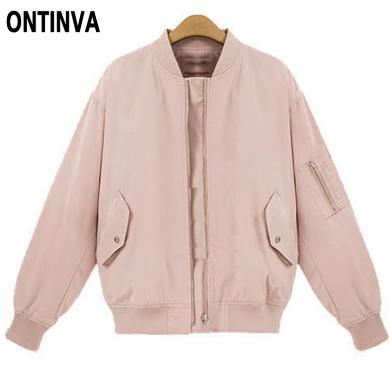 Women Bomber   Basic     Jackets   Pink Black Zipper Coat Pocket Plus Size 4XL Casual Long Sleeve Fall Winter Outerwear 2019 New Casaco
