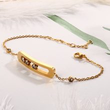 Sliding CZ Charming Chain Bracelets Bangles for Woman Man Stainless Steel Luxury Wedding Party Female Bracelet Jewellery Gift(China)