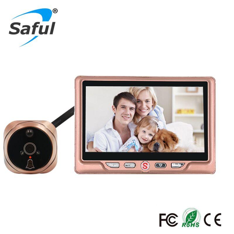 Saful 4,3 'ЖК-дисплей дверной глазок камера с ПИР обнаружения движения видео запись камера ИК Ночное Видение цифровой TFT карты памяти