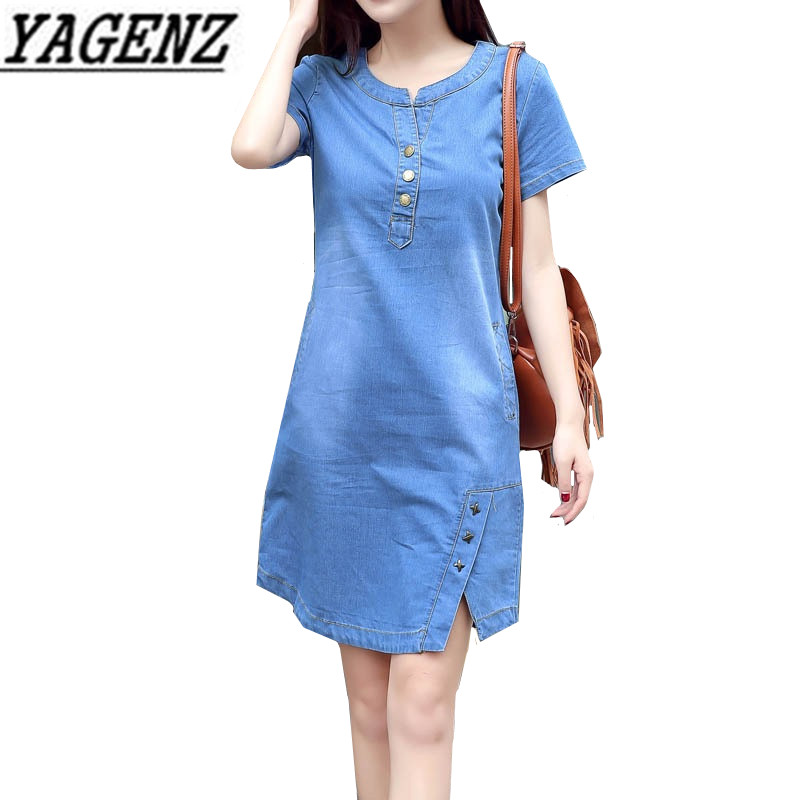 Korean Denim <font><b>dress</b></font> for women 2019 New Summer Casual <font><b>Jeans</b></font> <font><b>Dress</b></font> With button Pocket <font><b>Sexy</b></font> Denim Mini <font><b>Dress</b></font> Plus size 3XL A1425 image
