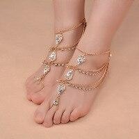 Nieuwe Mode Bridal Barefoot Sandalen Trouwschoenen, voet Sieraden BEACH Crystal Rhinestone Enkelband Charm Bracletet XR-046