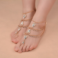 New Fashion Bridal Barefoot Sandals Wedding Shoes Foot Jewellery BEACH Crystal Rhinestone Anklet Charm Bracletet XR