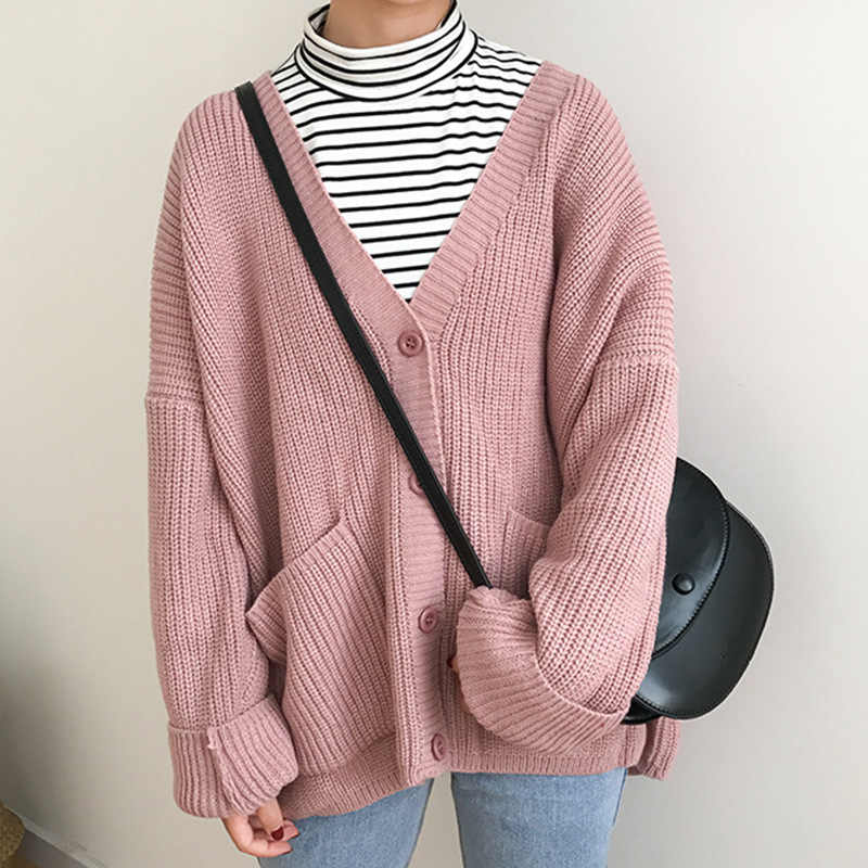 Sweaters For Women Autumn Winter Coat Korean Fashion Sweet Girl Sweater Jacket Cute Double Pocket Design Women Knitted Cardigan Cardigans Aliexpress