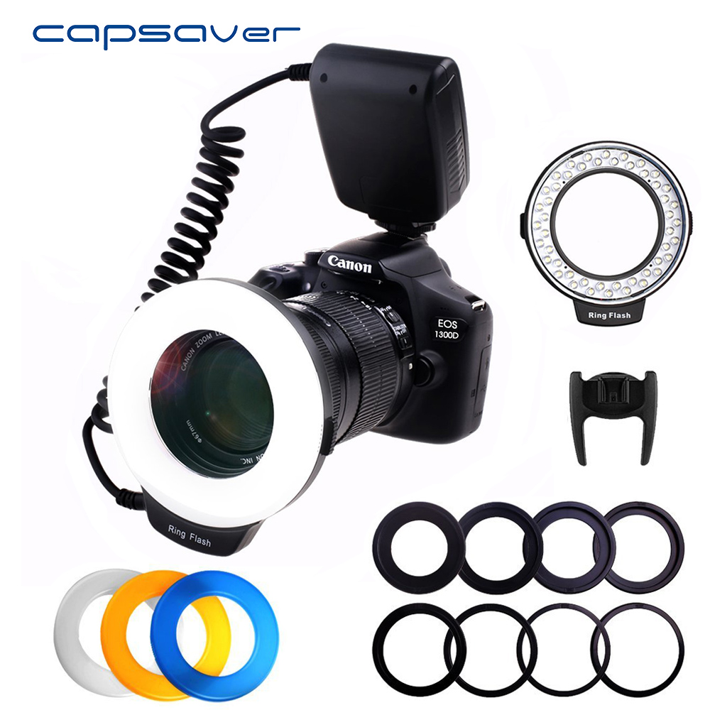 capsaver RF 550D LED Macro Ring Flash for Canon Nikon Olympus Panasonic Pentax Camera External Ring Studio Flash Speedlite fc100