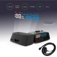 ActiSafety 4F Car OBDII HUD OBD2 Auto Head Up Display KM/H MPH Overspeed Warning Windshield Projector Vehicle Voltage Alarm